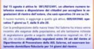 Attivo dal 15 agosto lo 081/9212491 il secondo numero Asl Salerno per segnalare i rientri dall'estero